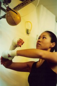 Christina Kwan - Champion Boxer on Speed Bag